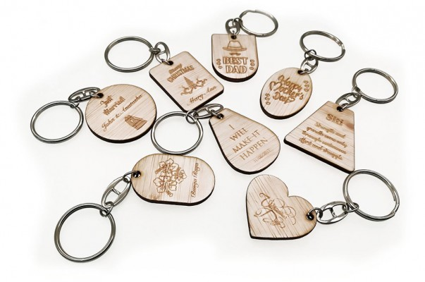 Wooden Key Ring Custom Shape