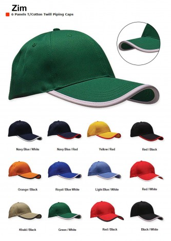 Zim T/Cotton Twill Piping Caps