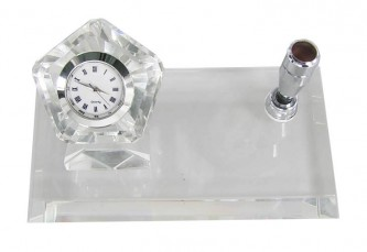 DCRY+DCRY-F+PH001 Pen Holder Crystal Desktop Set