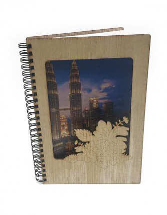 KLCC Petronas Twin Tower A5 Wooden Notebook