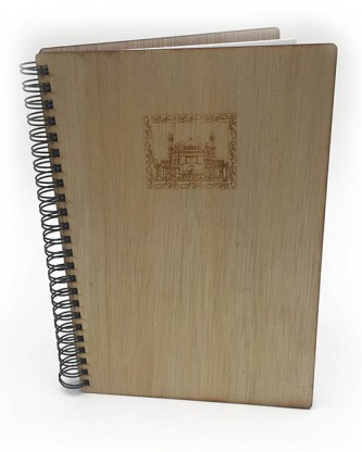 Etched Picture A5 Wooden Notebook