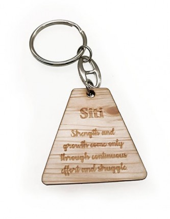 Motivational Quotes Wooden Key Ring With Personalised Name