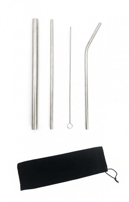 HH181201 Stainless Steel Reusable Straw Set With Velvet Pouch