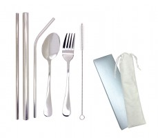 HH170514 Stainless Steel Reusable Straw & Cutlery Set With Cotton Pouch