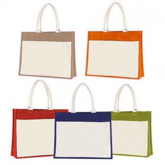 BG196135 Jute + Canvas Laminated Bag 35cm(H) X 43cm(W) X 15cm(G)