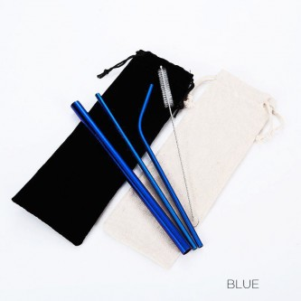 HH181202-BL Blue Reusable Straws With Case