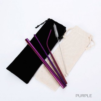 Purple Colored Stainless Steel Straws HH181202-PP